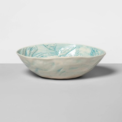 "10"" x 6.3"" Ceramic Oval Salad Serving Bowl Turquoise - Wonki Ware for Opalhouse™"