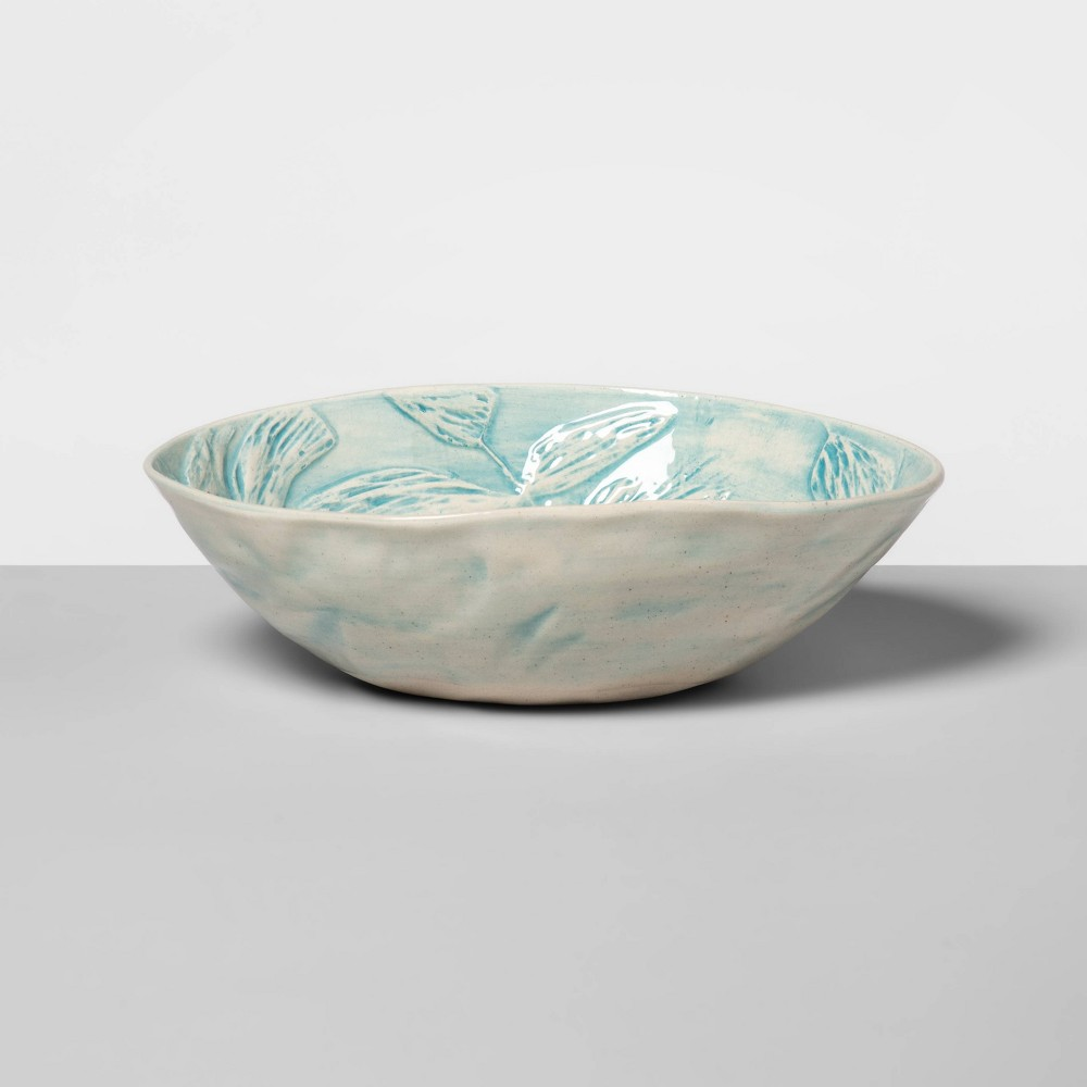 """Image of """"10"""""""" x 6.3"""""""" Ceramic Oval Salad Serving Bowl Turquoise - Wonki Ware for Opalhouse , Blue"""""""