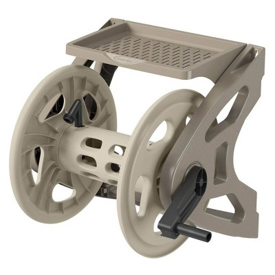 Suncast Handler 200 Foot Resin Wall Mounted Outdoor Garden Hose Reel, Taupe