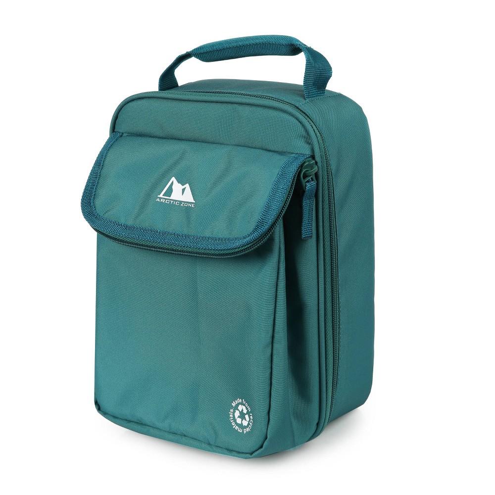 Image of Arctic Zone Recycled Material Dual Compartment Lunch Bag - Deep Green
