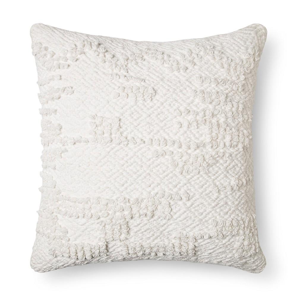 Cream (Ivory) Woven Square Throw Pillow (18
