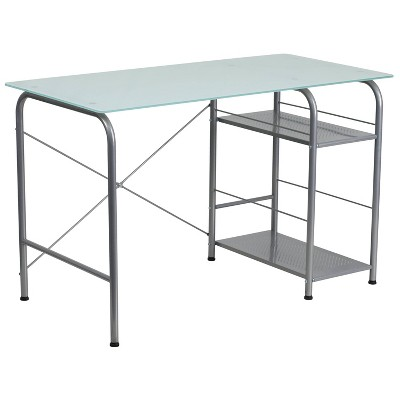 Glass Computer Desk with Open Storage - Silk White Glass Top/Silver Frame - Riverstone Furniture Collection