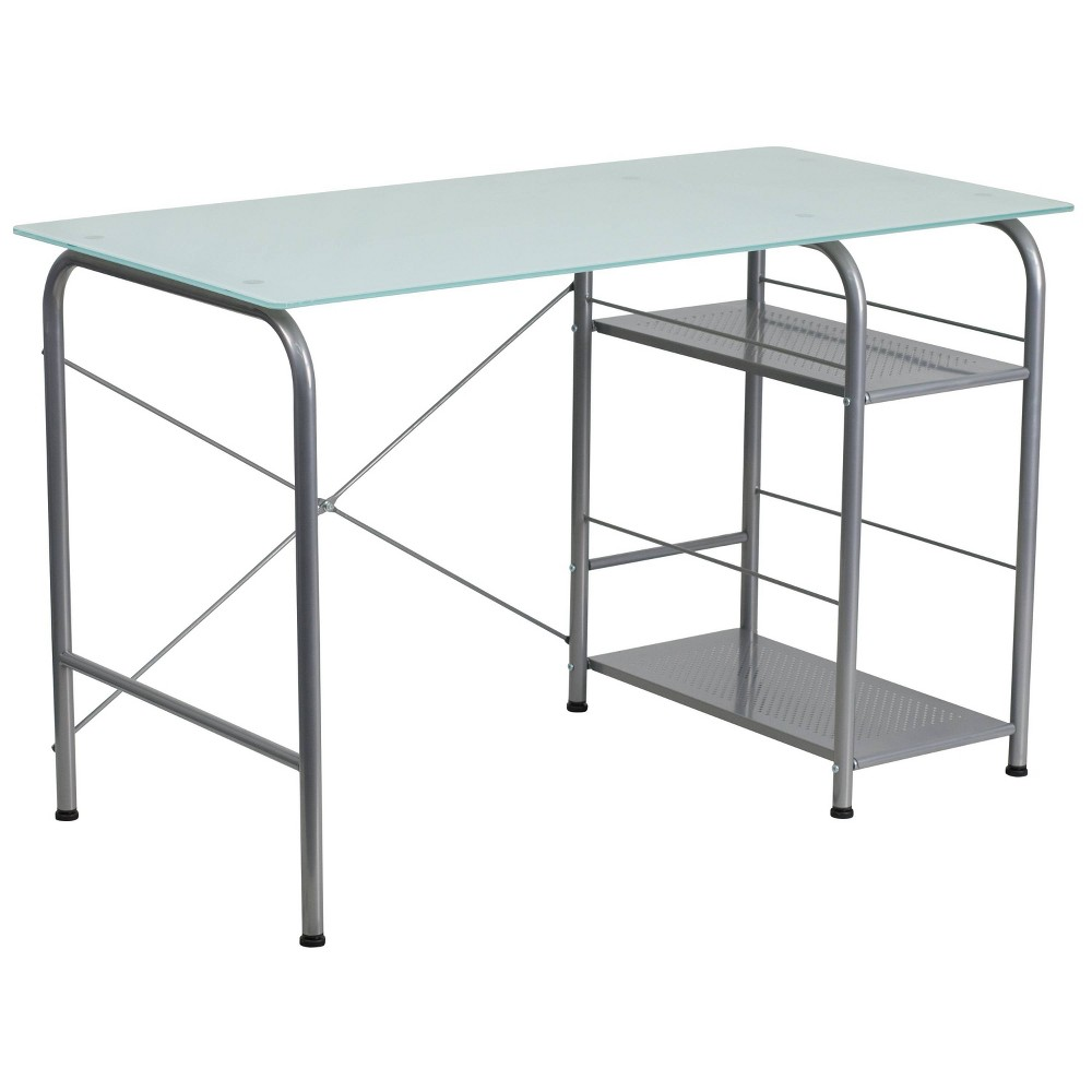 Glass Computer Desk With Open Storage Silk White Glass Top Silver Frame Riverstone Furniture Collection
