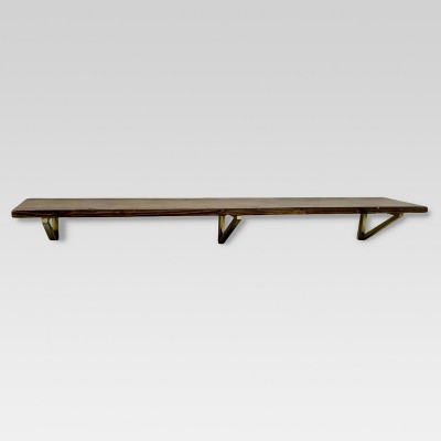 "36"" x 7"" Wall Shelf with Brass Brackets Brown/Gold - Threshold™"