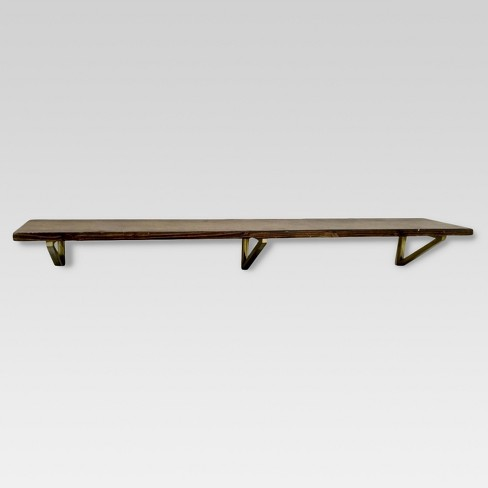 Wall Shelf with Polished Brass Brackets - Large - Threshold™ - image 1 of 2