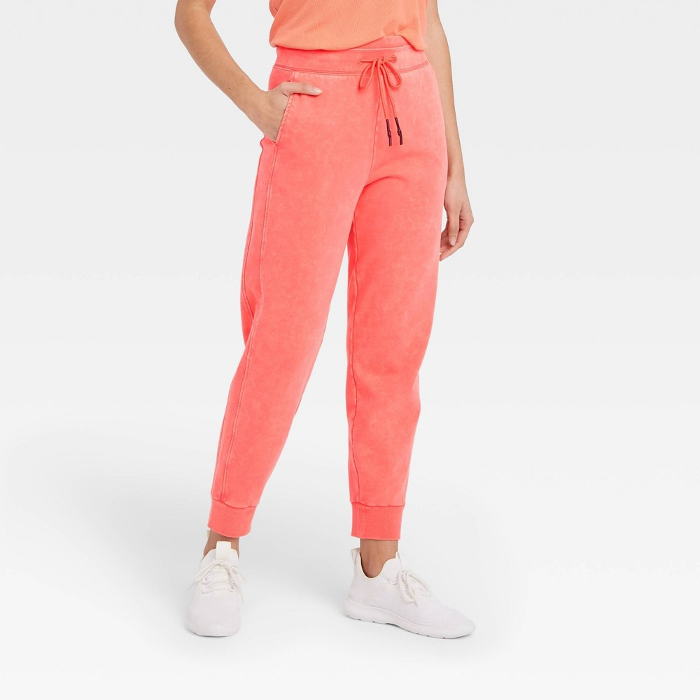 Women 39 S Mid Rise French Terry Acid Wash Jogger Pants Joylab 8482 Coral Xs