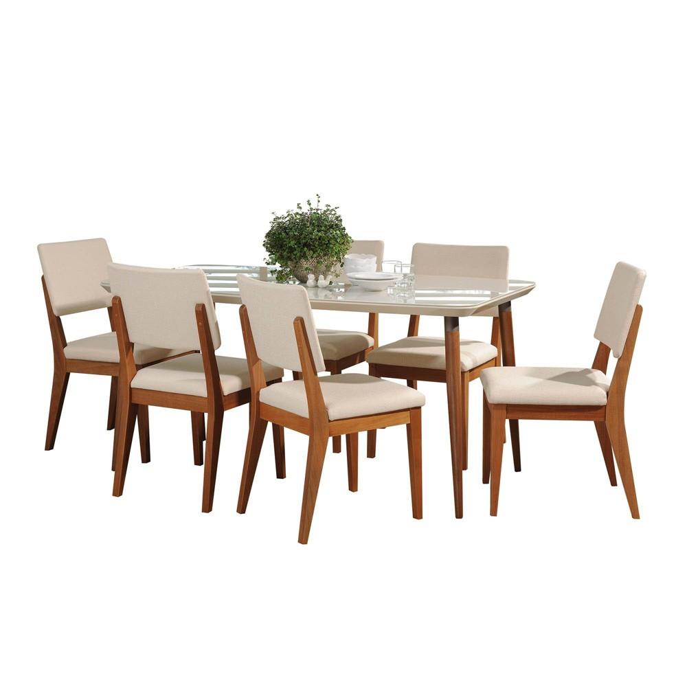 62.99 7pc Charles Dining Set Off-White/Beige (Beige/Beige) - Manhattan Comfort