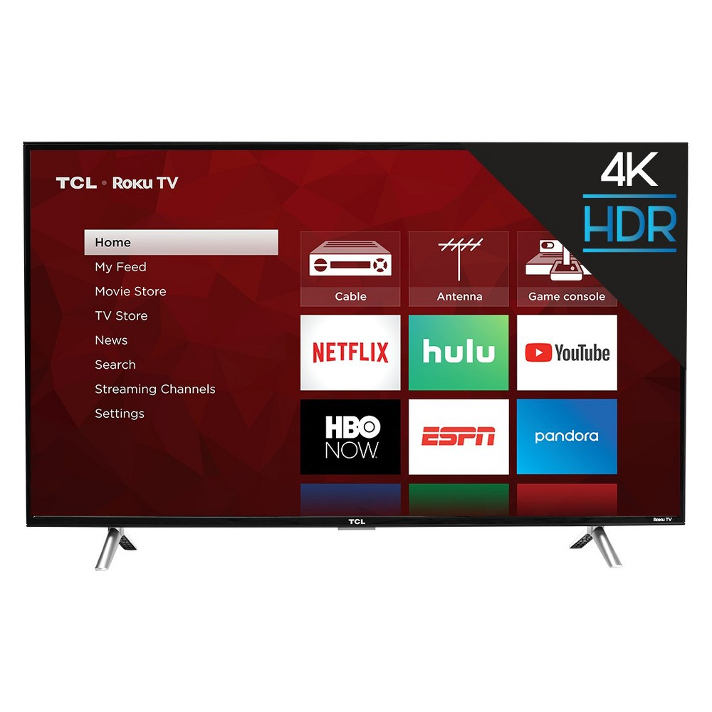 Tcl 43 Roku 4K Uhd Hdr Smart TV (43S425), Black