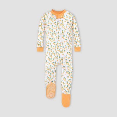 Burt's Bees Baby® Toddler Girls' Oranges Organic Cotton Footed Pajama- Cream/Orange 6-9M