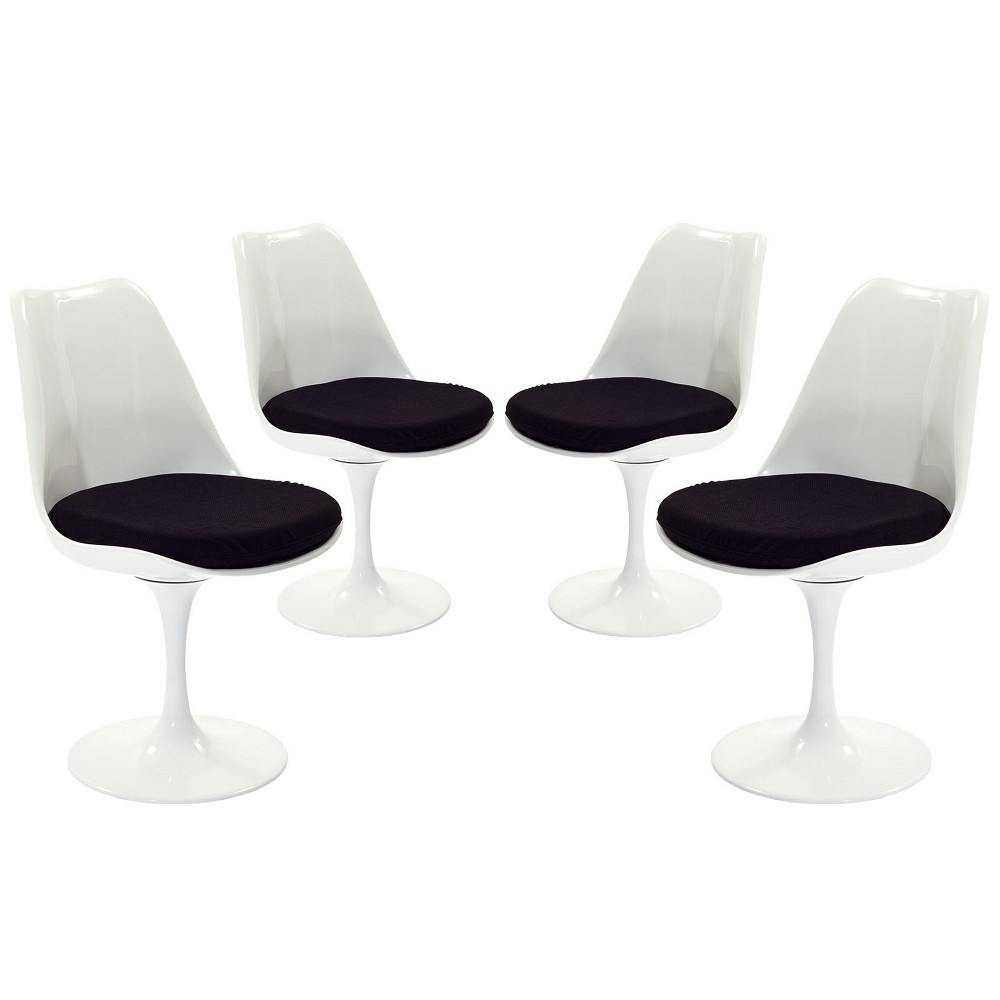 Lippa Dining Side Chair Fabric Set of 4 Black - Modway