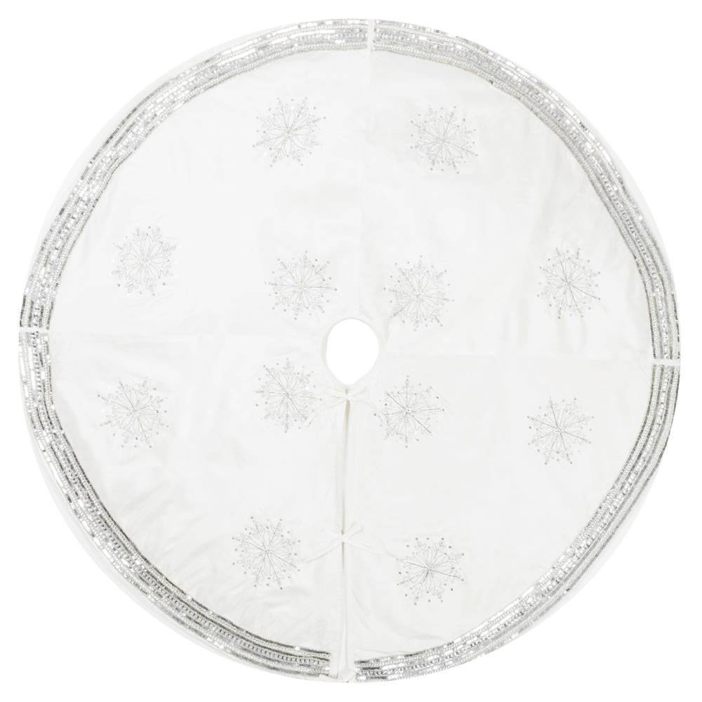 "Image of ""Vickerman 60"""" Banded Snowflake Tree Skirt"""