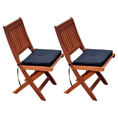 Miramar Hardwood Outdoor Folding Chairs (Set of 2 )- Cinnamon Brown/Black - CorLiving