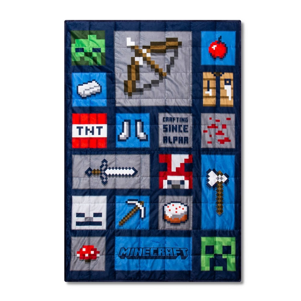 Image of Minecraft 5lbs Weighted Blanket Blue