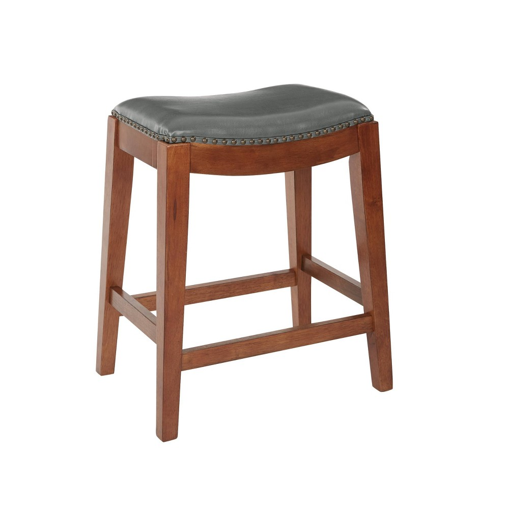 "Image of ""24"""" Metro Saddle Stool Pewter - OSP Home Furnishings, Silver"""