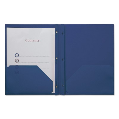 Universal Plastic Twin-Pocket Report Covers with 3 Fasteners 100 Sheets RoyalBlue 10/PK 20552