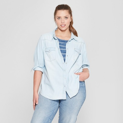 ab8b160cda Women s Plus Size Long Sleeve Labette Denim Shirt - Universal Thread™ Light  Wash   Target