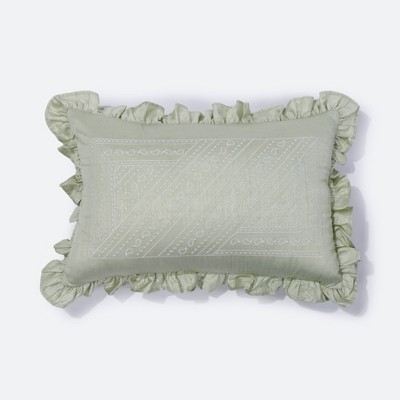 "12""x18"" Alana Embroidered Lumbar Throw Pillow Olive Green - NFC Home"