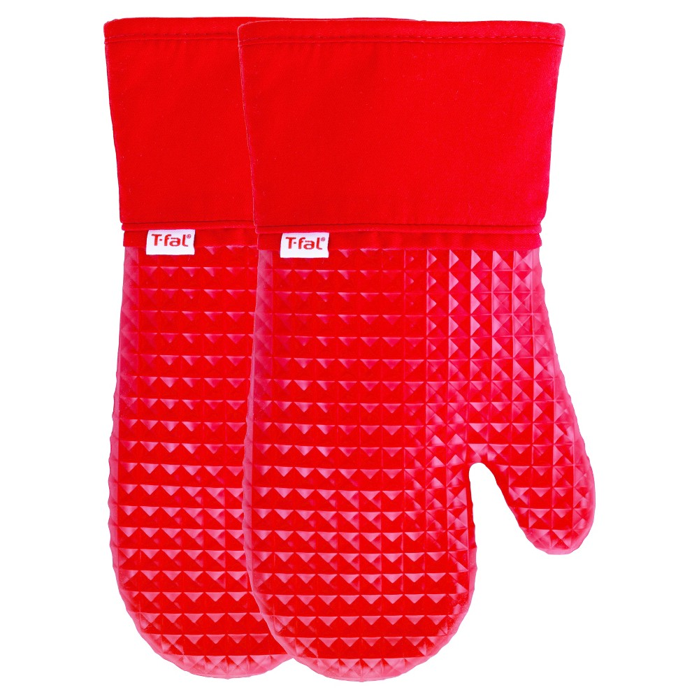 Image of 2pk Red Waffle Silicone Oven Mitt - T-Fal