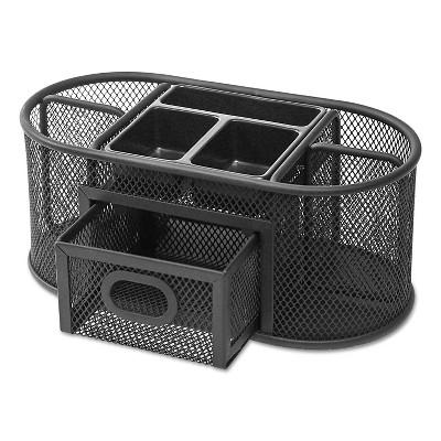 Universal Metal Mesh Oval Desktop Organizer 9 3/8 x 4 1/8 x 4 3/5 Black 20023