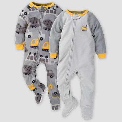 Gerber Baby Boys' Trucks Blanket Sleeper Footed Pajama - Dark Gray 3M