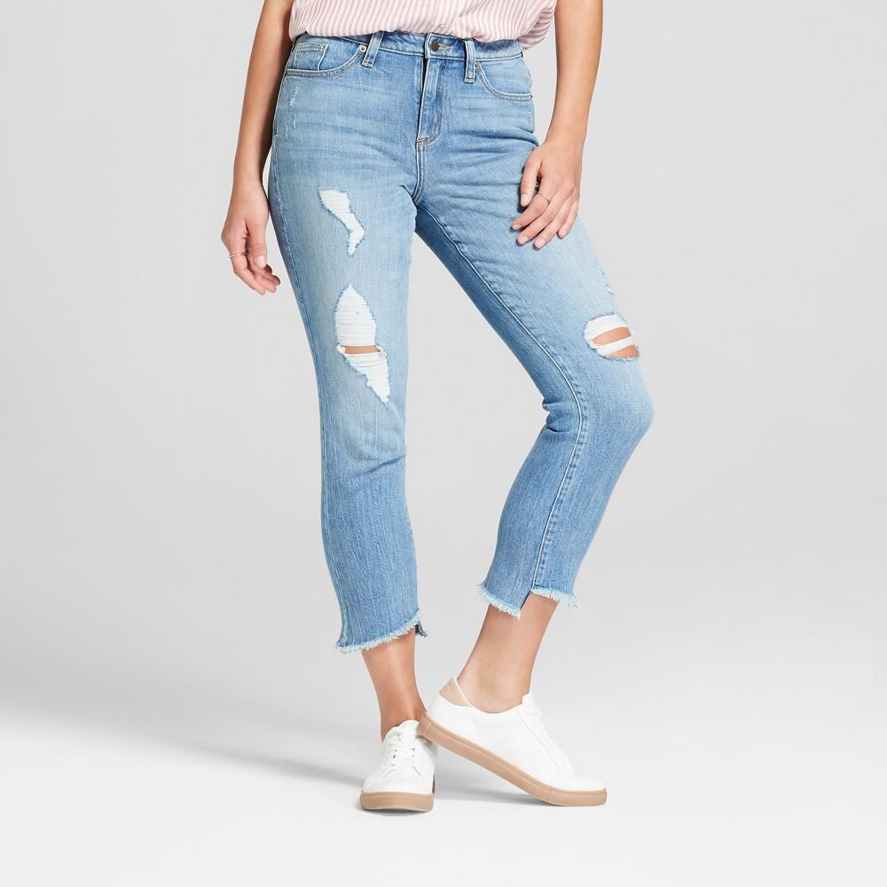 Women's High-Rise Raw Hem Straight Jeans - Universal Thread Light Wash 16 Short, Blue