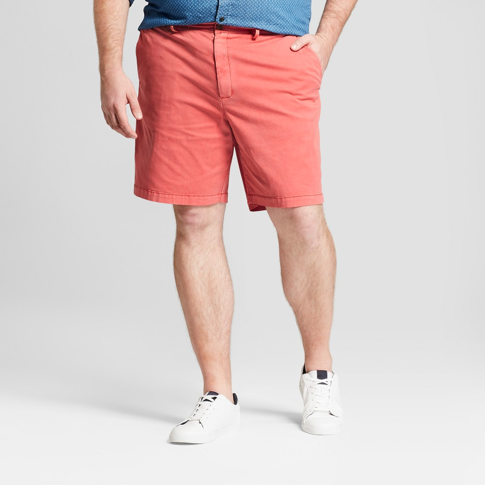 Men's Big & Tall 9 Linden Flat Front Chino Shorts - Goodfellow & Co Pink 44, Guava Berry