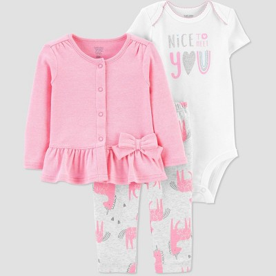 Baby Girls' 3Pc Unicorn Cardigan Bodysuit set - Just One You® made by carter's Pink Newborn