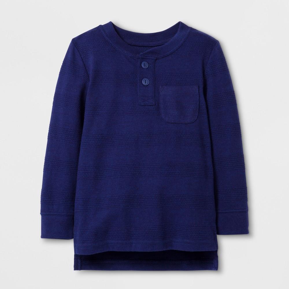 Toddler Boys' Long Sleeve Henley - Cat & Jack Blue 4T, Blue Streak
