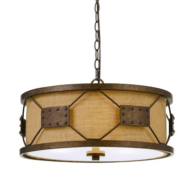 "9"" 2 in 1 Metal Ragusa Pendant with Burlap Shade Rust - Cal Lighting"