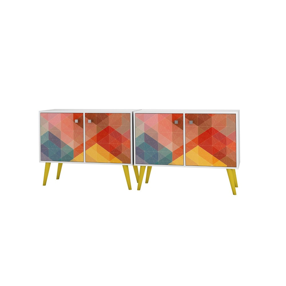 Set of 2 Avesta Double Side Table Stamp White/Yellow - Manhattan Comfort