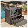 Corona Wicker Outdoor Serving Cart - Brown - Christopher Knight Home - image 4 of 4