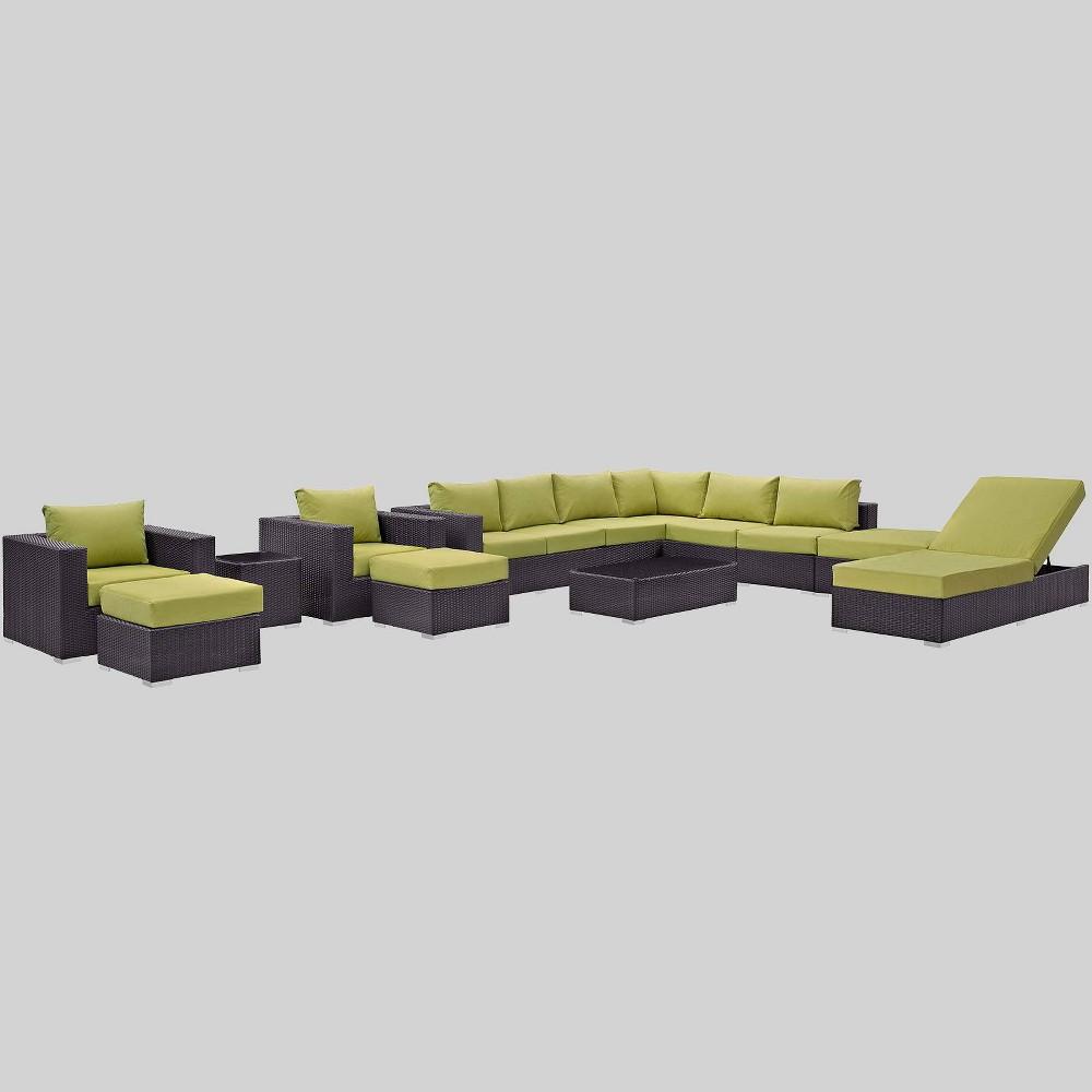 Convene 12pc Outdoor Patio Sectional Set - Peridot - Modway