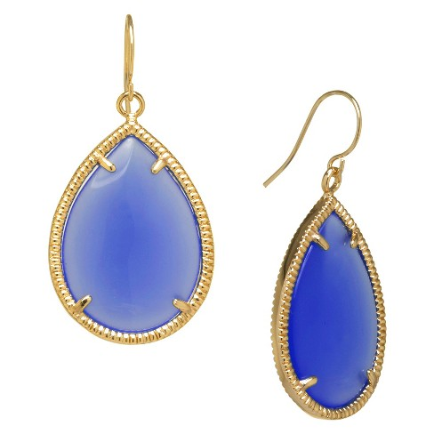 Gold Plated Blue Drop Earrings - Gold/Blue - image 1 of 1