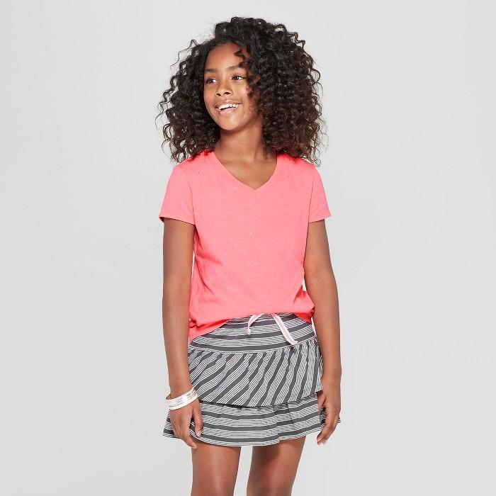 Girls' Sparkle Short Sleeve V-Neck T-Shirt - Cat & Jack™ Pink - image 1 of 3