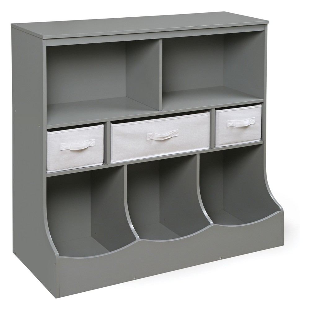 Image of Badger Basket Combo Bin Storage Unit with Three Baskets Gray