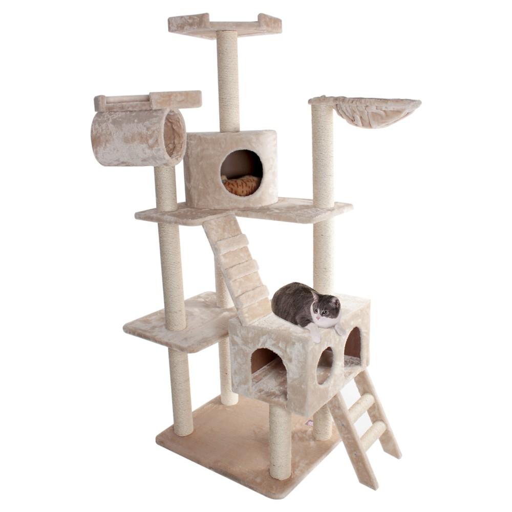Majestic Pet Casita Faux Fur Activity Center Cat Scratcher Honey 73 in