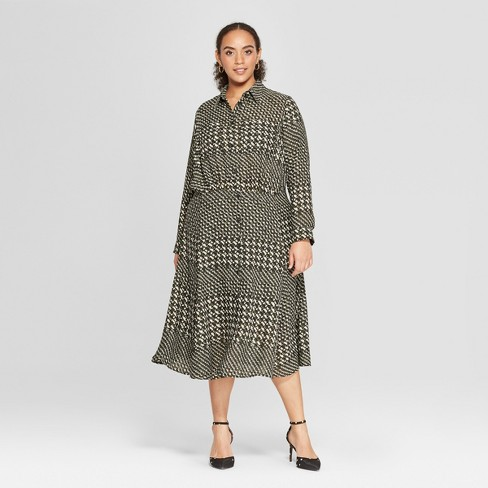 Women\'s Plus Size Houndstooth Convertible Sleeve Midi Shirtdress ...