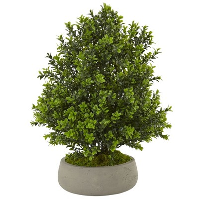Boxwood Artificial Plant In Stone Planter - Nearly Natural
