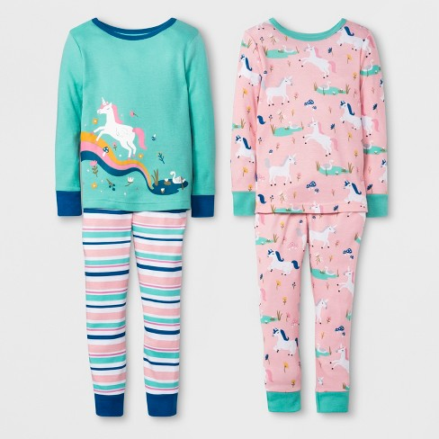 6cbbf21eb326 Toddler Girls  Unicorn 4pc Pajama Set - Cat   Jack™ Peach   Target