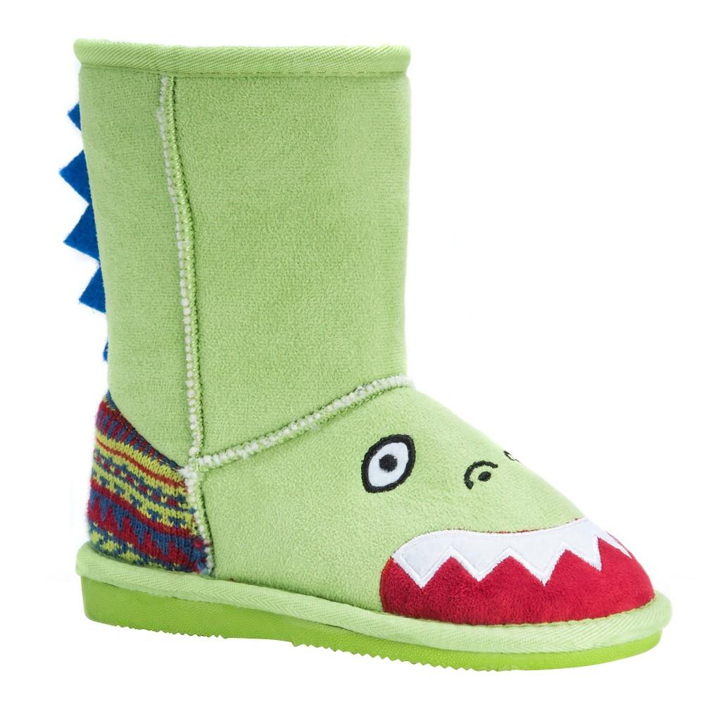 Image of Toddler Girls' MUK LUKS Rex Dinosaur Shearling Style Boots - Green 12, Toddler Girl's
