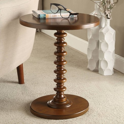 Acton 17 Wide Walnut Round Pedestal Wood Side Table Target