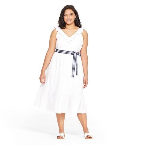 c54bfc86e9af66 Women s Plus Size Sleeveless Ruffle Tie Waist Midi V-Neck Dress - White - vineyard  vines® for Target