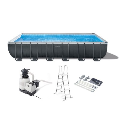 Intex 26367EH 24ft x 12ft x 52in Ultra XTR Frame Outdoor Above Ground Swimming Pool Set w/ Sand Filter Pump, Ladder, Ground Cloth & Protective Canopy