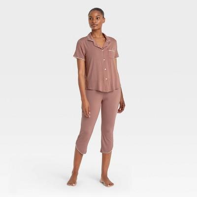 Women's Beautifully Soft Notch Collar Cropped Pajama Set - Stars Above™ Rose Pink L