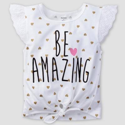 Gerber Baby Girls' Hearts Cap Sleeve Top - White 12M