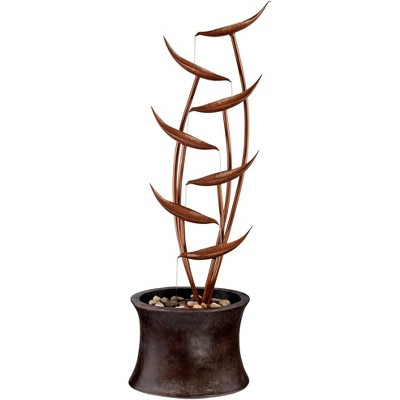 "John Timberland Rustic Modern Outdoor Floor Water Fountain 41"" High Cascading Leaves for Yard Garden Patio Deck Home"