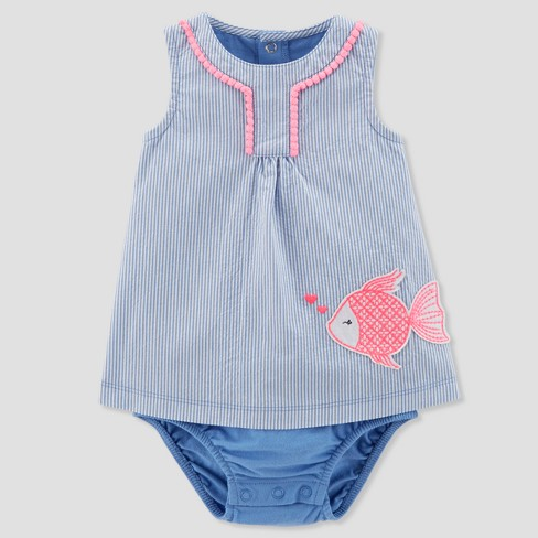 Baby Girls' 1pc Seersucker Fish Sundress - Just One You™ Made by Carter's® Blue - image 1 of 1