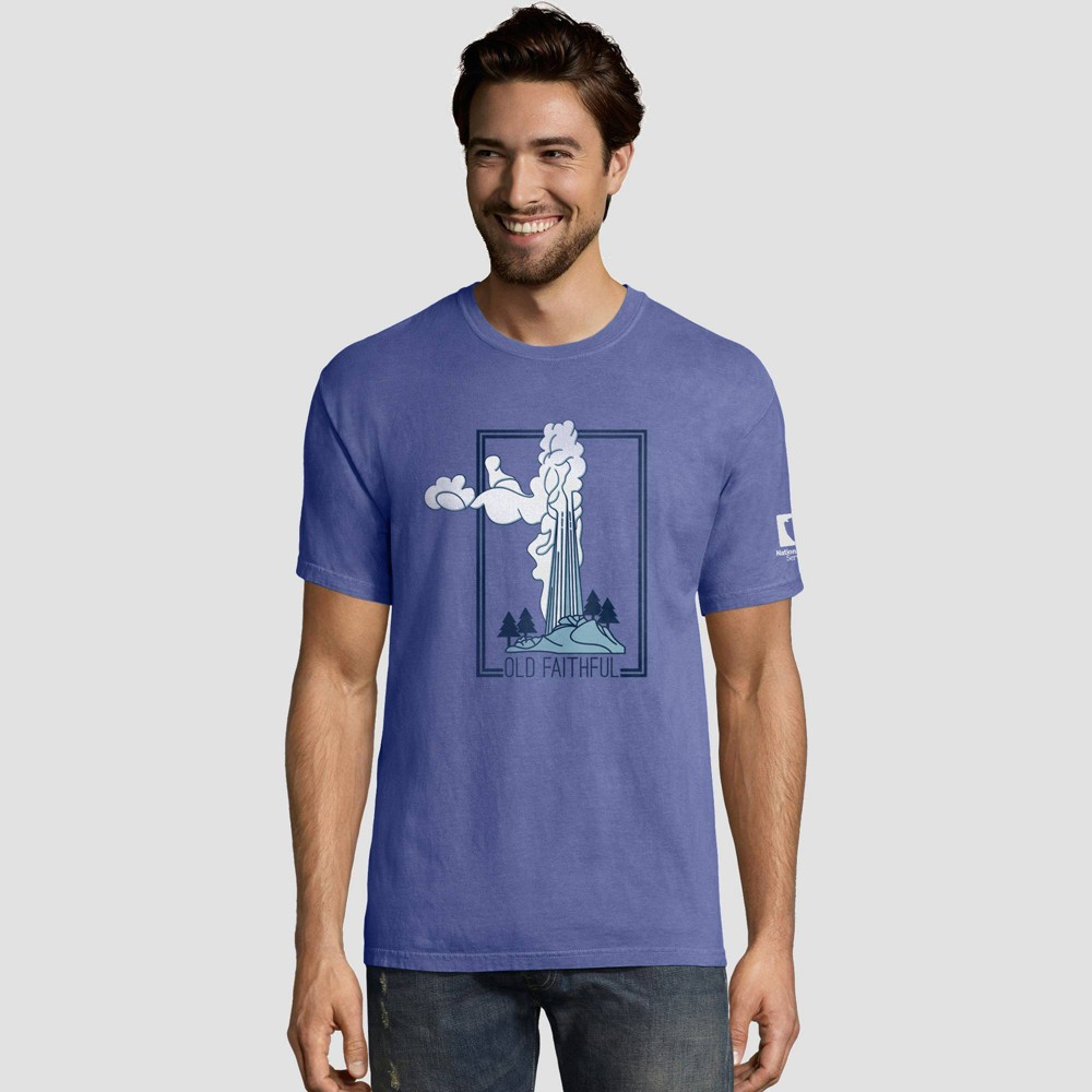 Image of petiteHanes Men's Short Sleeve National Parks Service T-Shirt - Deep Water XL