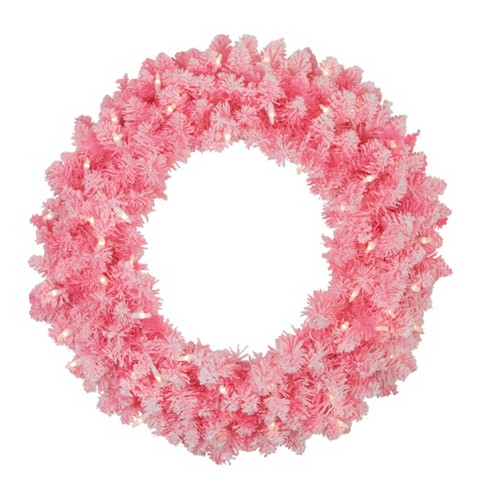Northlight 24 Prelit Flocked Hot Pink Artificial Christmas Wreath Clear Lights