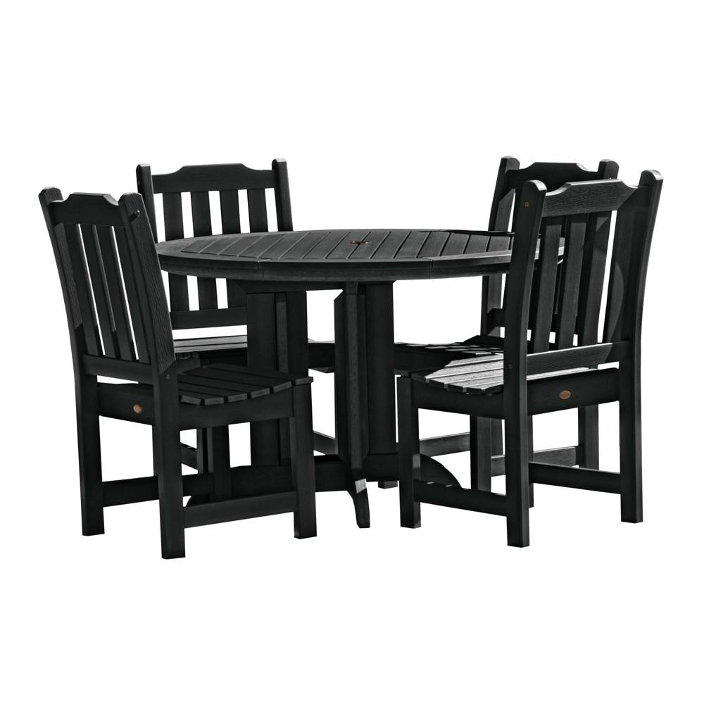 Lehigh 5pc Round Dining Set Black - Highwood
